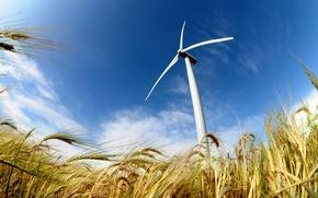 Картинка field, power, energy, wind, wind turbine