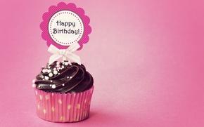 Картинка день рождения, cupcake, кекс, Happy, Birthday