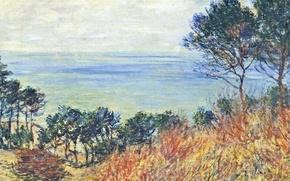 Картинка пейзаж, картина, Клод Моне, Морское Побережье Варанжвиля