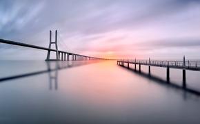 Картинка мост, отражение, пирс, Vasco da Gama