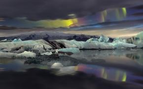 Картинка горы, природа, океан, северное сияние, айсберги