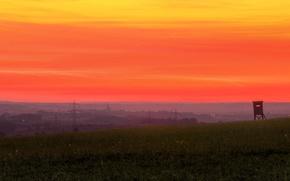 Картинка twilight, sunset, dusk, village, countryside, power line, countryside scene