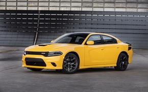 Картинка car, авто, желтый, Dodge, Charger, передок, nice, Daytona