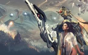 Обои взгляд, девушка, деревья, огонь, дым, робот, корабли, арт, sci-fi, уничтожение