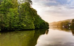 Картинка деревья, река, холмы, берег, яхты, лодки, Великобритания, домики, Дарт, River Dart