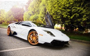 Картинка Машина, Тюнинг, Белая, Desktop, Car, Автомобиль, Beautiful, Lamborgini, Murcielago, White, SuperVeloce, Wallpapers, Ламборгини, Tuning, LP670-4, ...