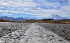 Картинка дорога, облака, Эльбрус, Джилы-Су