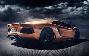Картинка Lamborghini, rear, orange, LP700-4, Aventador, Alex Murtaza, Shift-S3ctor