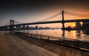Обои New York, Sunrise, Brooklyn, Williamsburg Bridge, East River, Manhattan Bridge