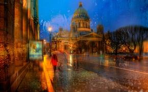 Обои вечер, город, дождь, природа