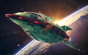 Картинка космос, space, Футурама, Futurama, Planet Express, Spaceship, Планетарный экспресс