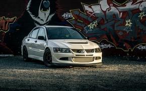 Картинка Mitsubishi, Lancer, Evolution, graffiti, White, VIII