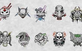 Картинка Slipknot, Joker, Diablo, Katana, Deadshot, Harley Quinn, Killer Croc, Boomerang, Enchantress, Suicide Squad, Отряд Самоубийц, …