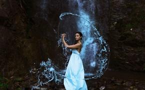 Картинка девушка, водопад, платье, The Water Bearer