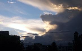Картинка clouds, blue, dusk, city, wallpaper, twilight, light, dark, background, houses, evening