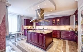 Картинка мебель, вилла, окно, кухня, роскошь, Design, luxury, гарнитур, Interior, Kitchen