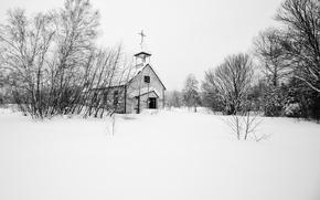 Картинка зима, снег, деревья, церковь