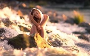 Картинка девушка, брызги, камни, Studio Hors-champ, Elia