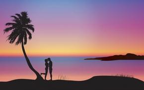 Обои влюблённые, пара, силуэты, пальма, романтика, композиция, закат