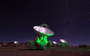 Картинка антенны, Чили, Атакама, радиотелескопы, Atacama Large Millimeter Array, ALMA antennas under the Milky Way