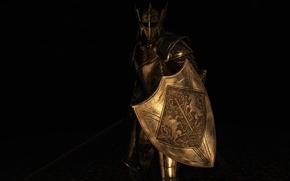 Картинка рендеринг, фон, меч, доспехи, воин, шлем, щит
