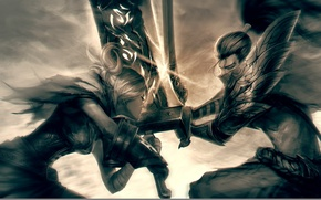 Картинка League of Legends, Riven, Yasuo, the Unforgiven, the Exile