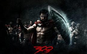 Обои 300 спартанцев, взгляд, царь, воин, дождь, щит, Леонид, Спарта