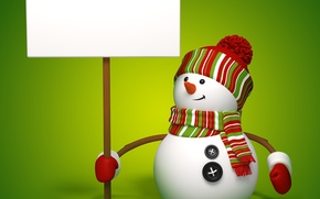 Обои snowman, 3d, cute, banner, christmas, new year, снеговик