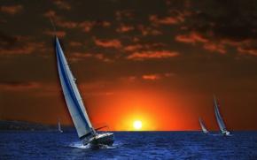 Картинка море, закат, фотошоп, яхты