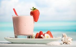 Обои strawberry, ракушка, plate, напиток, drink, cocktail, тарелка, коктейль, seashell, стакан, glass, клубника