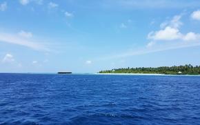 Картинка белый песок, пляж, тропики, Maldives, океан, остров, пальмы