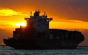 Картинка море, закат, судно, контейнеровоз