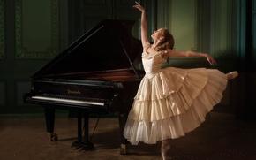 Обои танец, пианино, балерина, Evelina Godunova
