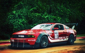 Картинка Mustang, Ford, red, front, race car, обвес