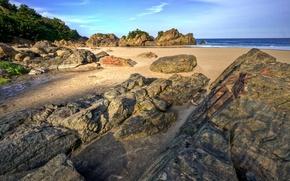 Обои море, пляж, камни, песок