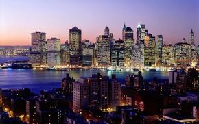 Картинка ночь, город, огни, река, обои, небоскребы, нью-йорк, wallpapers, new york