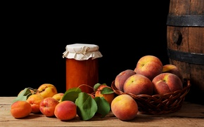 Обои персики, корзинка, натюрморт, абрикосы, варенье