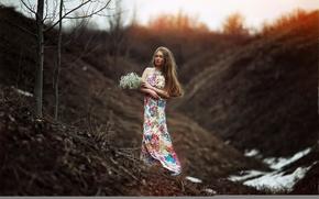 Картинка девушка, цветы, природа, платье, боке, Karen Abramyan, the arrival of spring