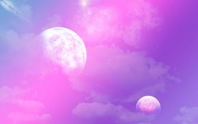 Картинка фиолетовый, космос, звезды, планеты, пурпурный