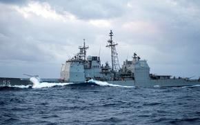 "Картинка море, волны, брызги, ВМФ США, ракетный крейсер, типа «Тиконде́рога», ""Leyte Gulf"", ""Лейте Галф"" (CG-55)"