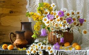 Картинка лето, корзина, ромашки, посуда, натюрморт, колокольчики, полевые цветы, абрикосы, кувшины, вербейник