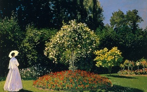 Картинка деревья, пейзаж, картина, зонт, клумба, Клод Моне, Жанна-Маргарита Лекард в Саду, Дама в Саду