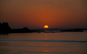 Картинка море, небо, солнце, закат, скалы, горизонт