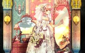 Картинка украшения, зеркало, невеста, фата, свадебное платье, подсвечники, перчатки локтя, будуар, букет невесты, by radu