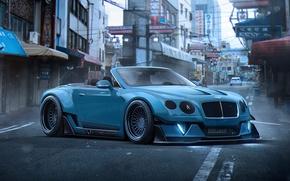 Картинка Bentley, Continental, Blue, Tuning, Future, Stance, by Khyzyl Saleem