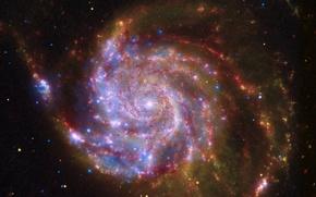 Картинка космос, галактика, спиралька, свет во тьме, красная галактика