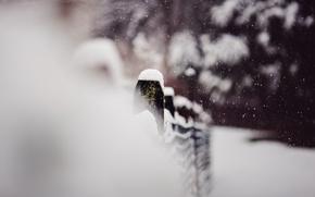 Картинка зима, макро, снег, забор