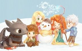 Картинка магия, снеговик, мультфильмы, компания, рапунцель, дисней, disney, как приручить дракона, brave, храбрая сердцем, хранители снов, …