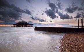 Картинка тучи, пирс, Англия, берег, пролив, море, Великобритания, вечер, облака, небо, камни, закат