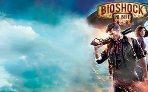 Обои BioShock, Irrational Games, Небо, Оружие, Огонь, Элизабет, Облака, Колумбия, BioShock Infinite, Букер Девитт, 2K Games